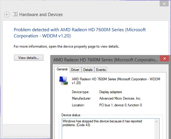 Re: Problem detected with amD Radeon HD 7600M Seri    - Sony